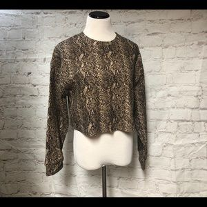 Zara Trafaluc Animal Print Crop Top Brown Size M